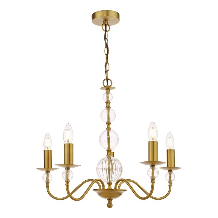 Lyzette 5 Light Armed Fitting - Aged Brass Ribbed Glass