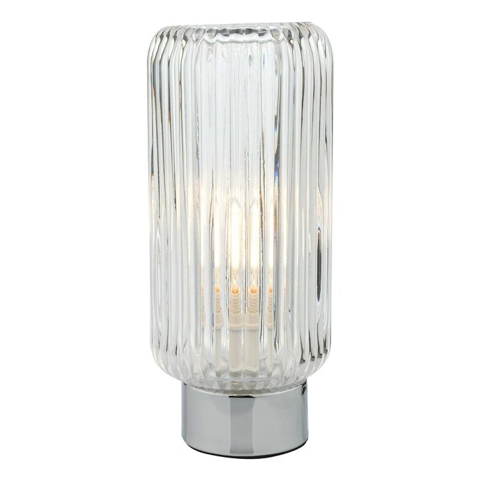 Mason Touch Table Lamp - Polished Chromed Ribbed Glass