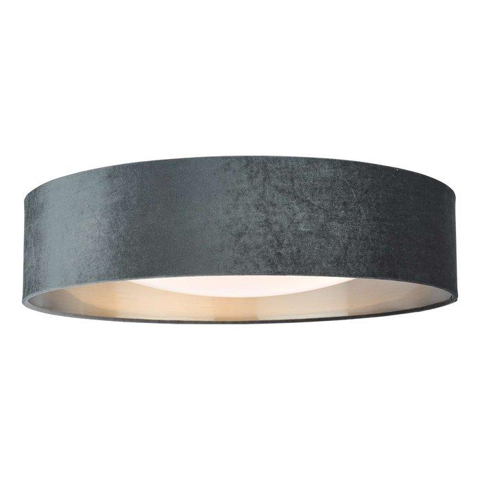 Nysa 3 Light Flush Velvet Dark Grey Shade 60Cm