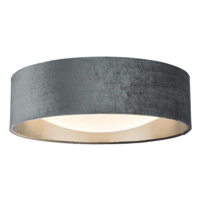 Nysa 2 Light Flush Velvet Dark Grey Shade 40Cm
