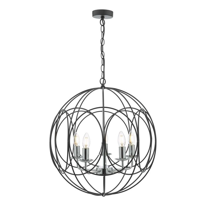 Phoenix 5 Light Pendant Light - Matt Black With Polished Chrome Detail