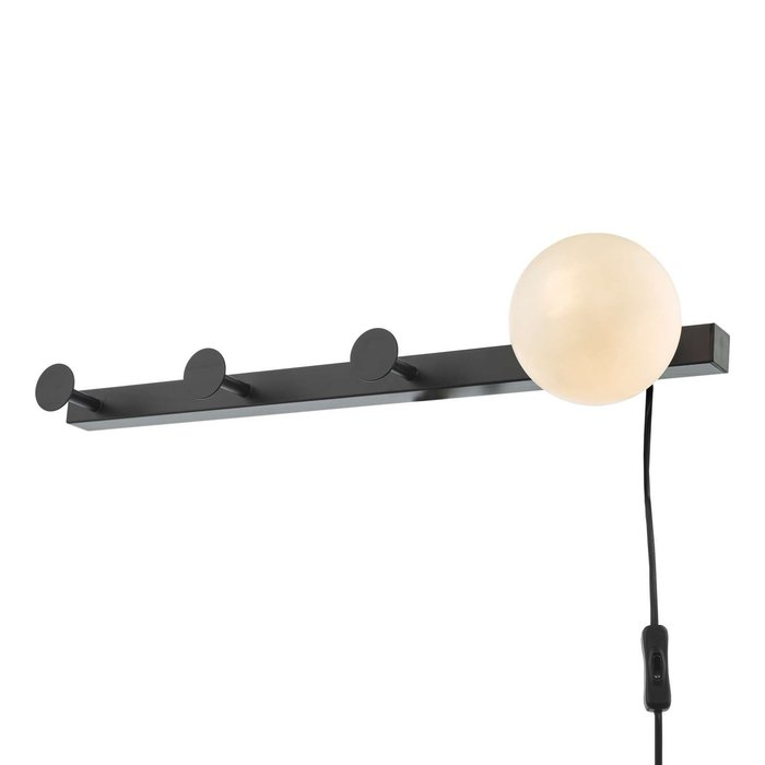 Rack Wall Light & Coat Hook - Matt Black Opal Glass - Plug in