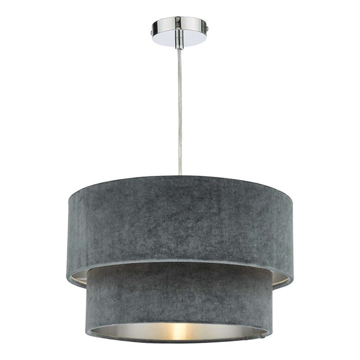 Suvan Easy Fit Tired Velvet Shade - Dark Grey With Silver Lining