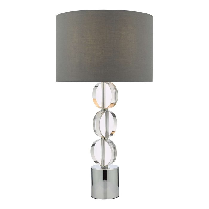 Tuke Touch Table Lamp - Polished Chrome Crystal With Shade