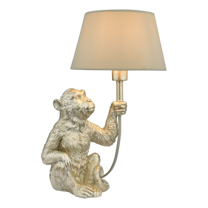 Zira 1 Light Monkey Table Lamp - Silver With Shade