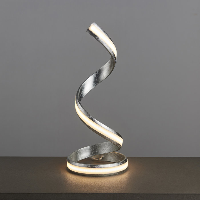 Arya - Spiral LED Table Lamp - Silver Leaf