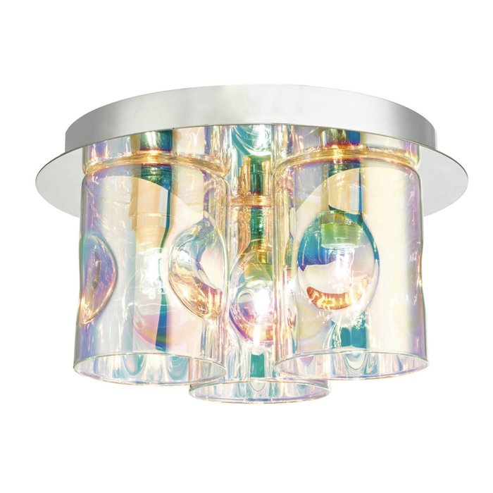 Spectrum - Iridescent Glass Flush Ceiling Light