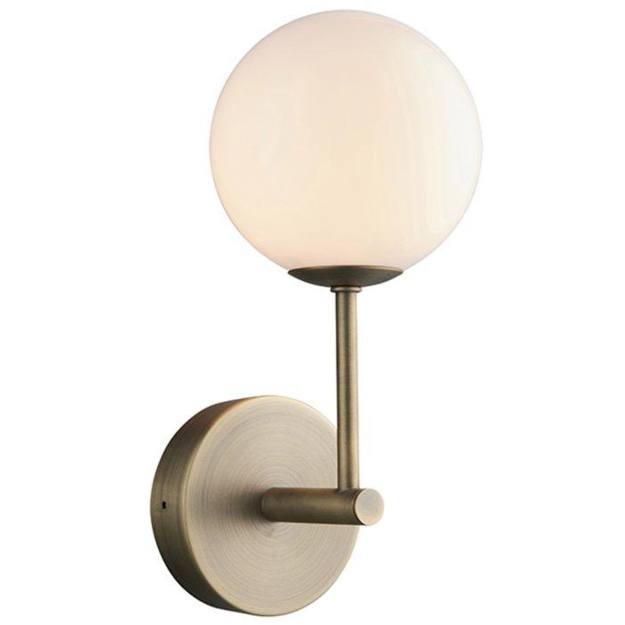 Dot - Mid Century Opal Globe & Matt Antique Brass Wall Light