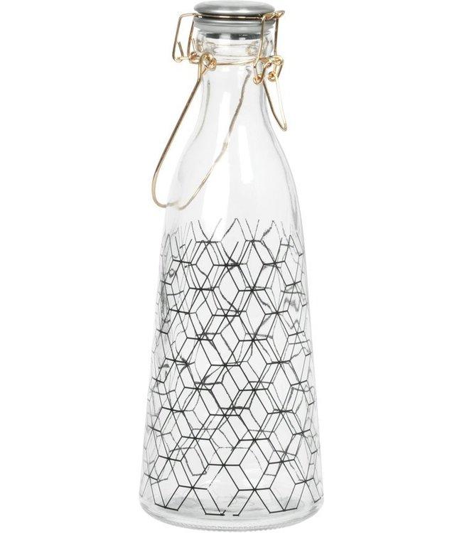 Present Time Glazen fles patroon diamond