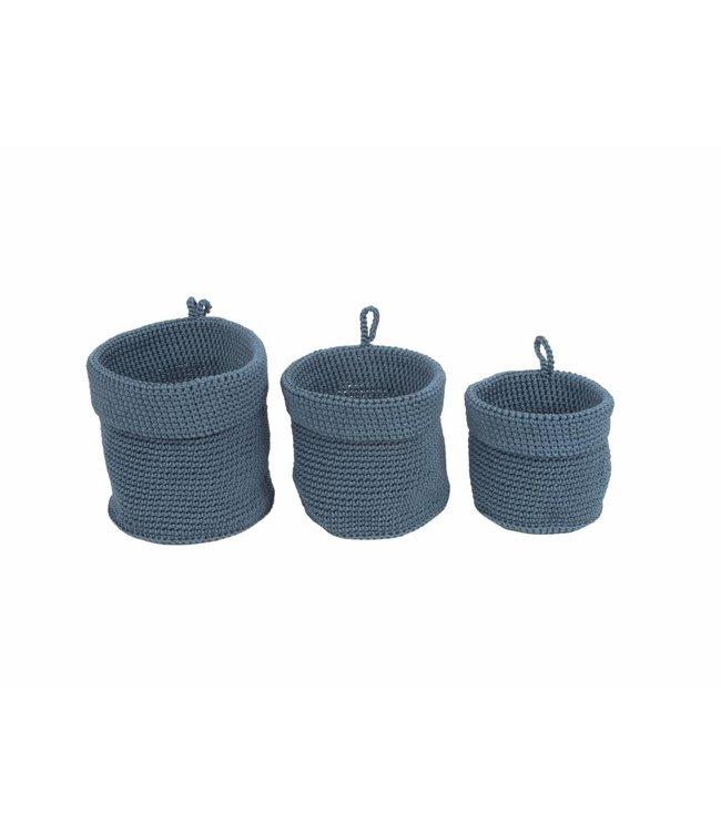 Present Time Weave mandenset blauw