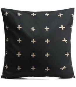 Kussen Black Cross 45 x 45 cm