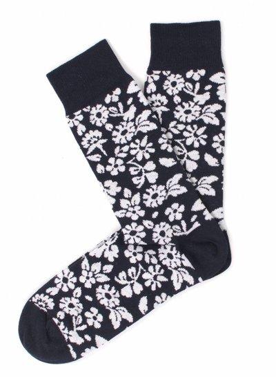 Navy Socks, white flower