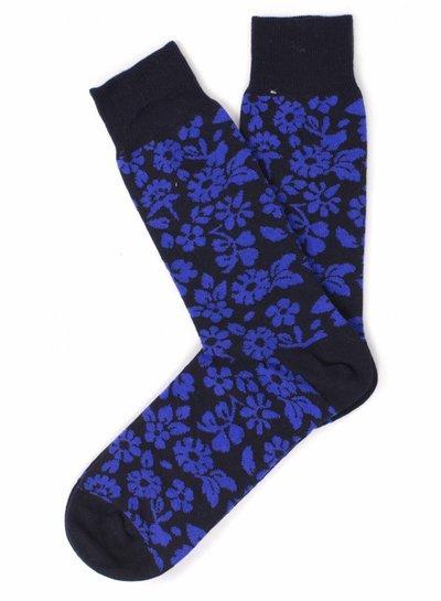 Navy Socks, blue flower