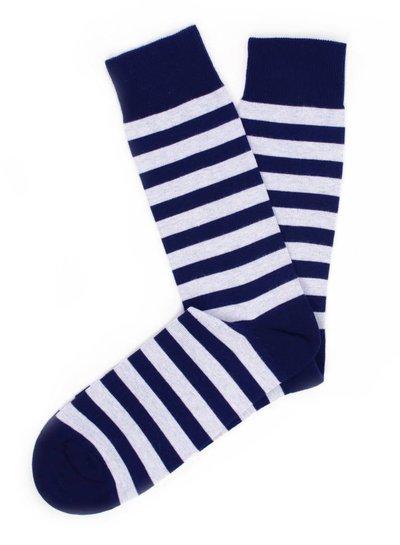 Navy socks, white stripes