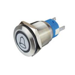 Sintron Connect RVS drukknop 19mm met belsymbool en verlichting 12V