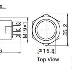 RVS drukknop 19mm 250V 5A