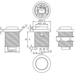 Lichtgevende arcade drukknop 30mm wit