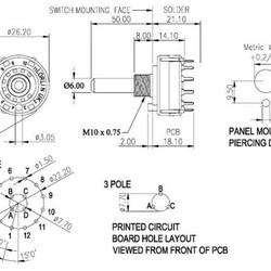 Lorlin draaischakelaar 2x6 contacten 0,15A - 250V PCB uitvoering