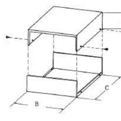 metalen behuizing - 90 x 240 x 210mm