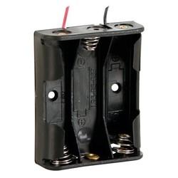 Batterijhouder voor 3 x AA-cel - met draden