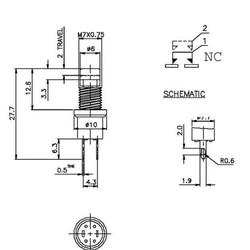 Drukknop Normaal Gesloten ON-(OFF) 1A/125VAC ROOD