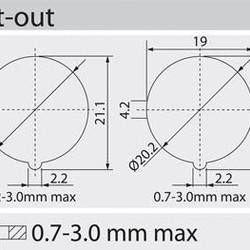 Enkelpolige schakelaar Rond ON-ON 6A/250VAC Rode LED