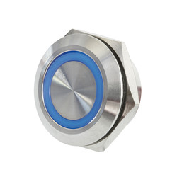 Sintron Connect extra platte rvs knop 19mm blauw