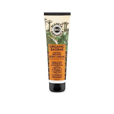 Planeta Organica Gecertificeerde Biologische Baobab Lichaamscrème, voor een soepele en stralende huid, 140 ml