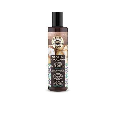 Planeta Organica Gecertificeerde biologische shampoo Macadamia., voor glans en uitstraling, 280 ml