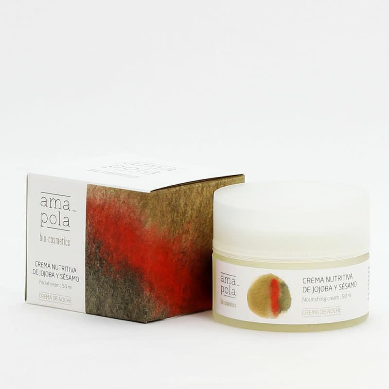 Voedende nachtcrème gelaat met jojoba & sesam Amapola 125ml-1