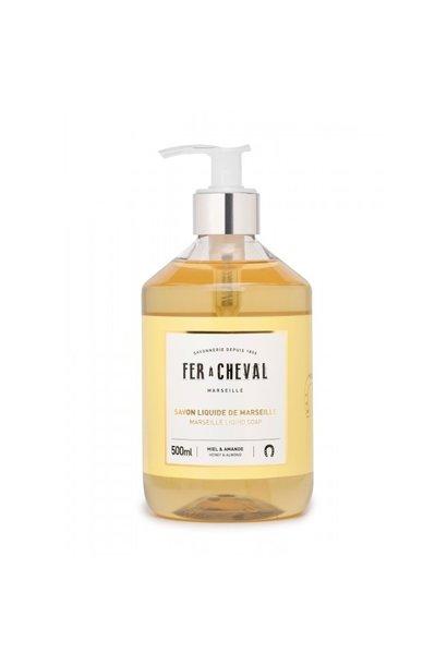 Vloeibare geparfumeerde marseille zeep met  honing & amandel 500ml