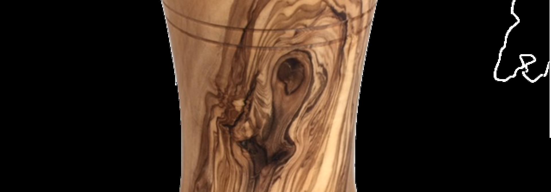 Pot voor roerlepels uit olijfhout boog