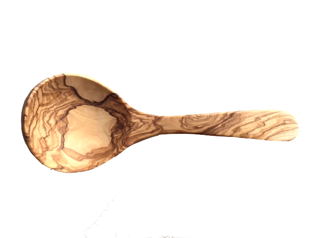 Roerlepel uit olijfhout scheplepel diep 25 cm-1