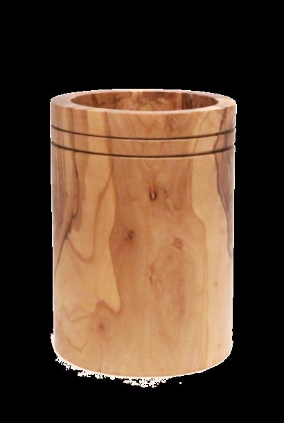 Pot voor roerlepels uit olijfhout recht