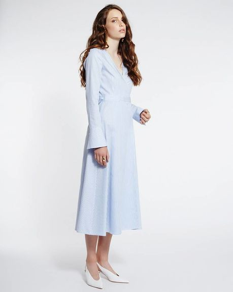 Marly tencel wrap dress / blue stripe