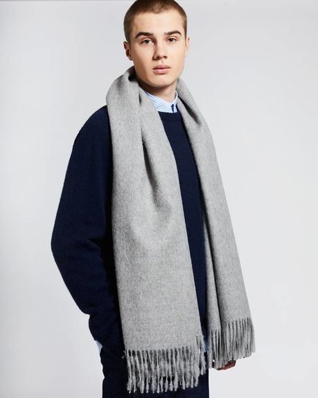 Ludo large alpaca scarf / light grey