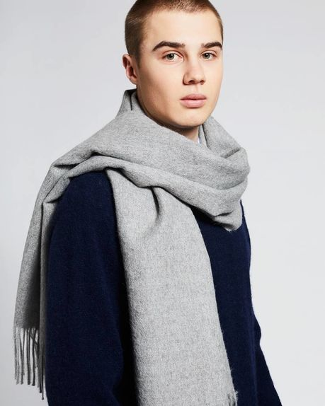 Ludo large alpaca scarf / light grey