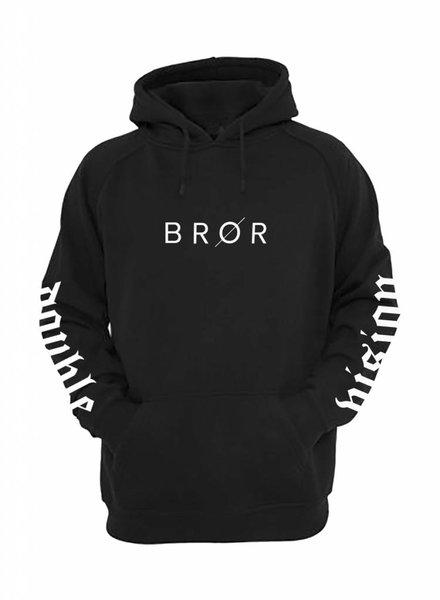 BROR Black Hoodie  Printed Sleeves