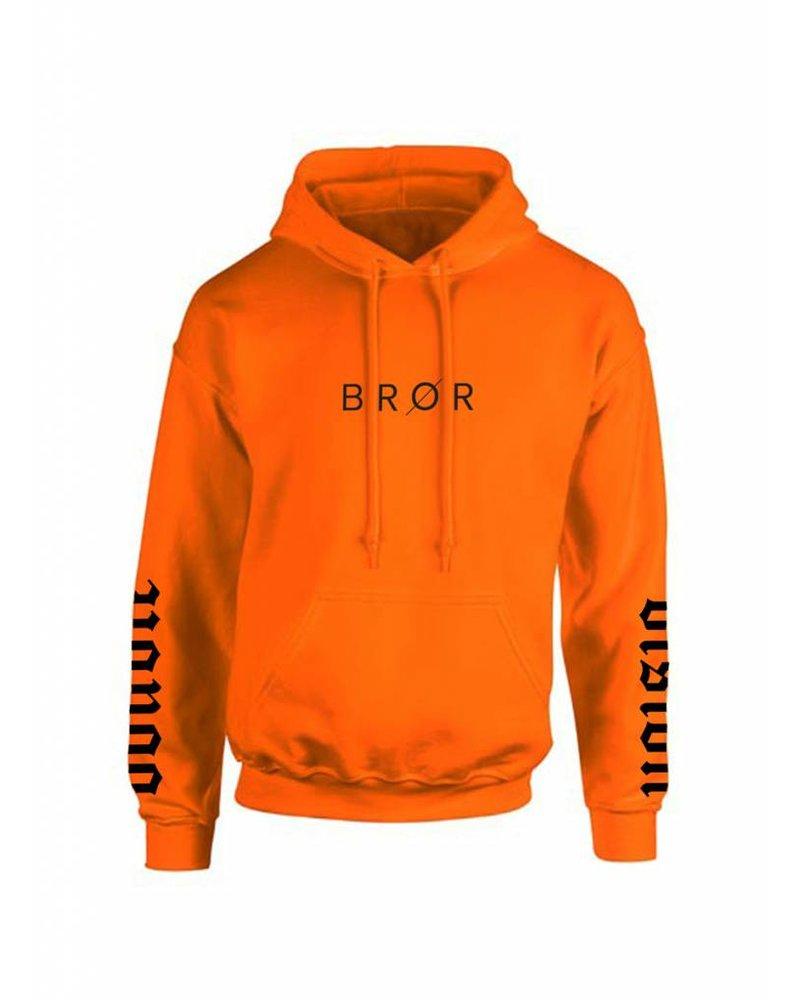 BROR Orange Hoodie  Printed sleeves