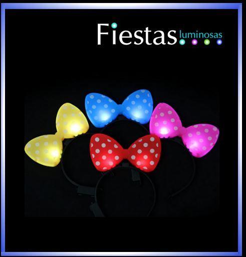 LED polka dot bow headbands – assorted colours( 5 uds )