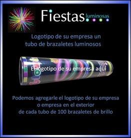 20 tubos de 100 pulseras luminosas con el logotipo de su empresa