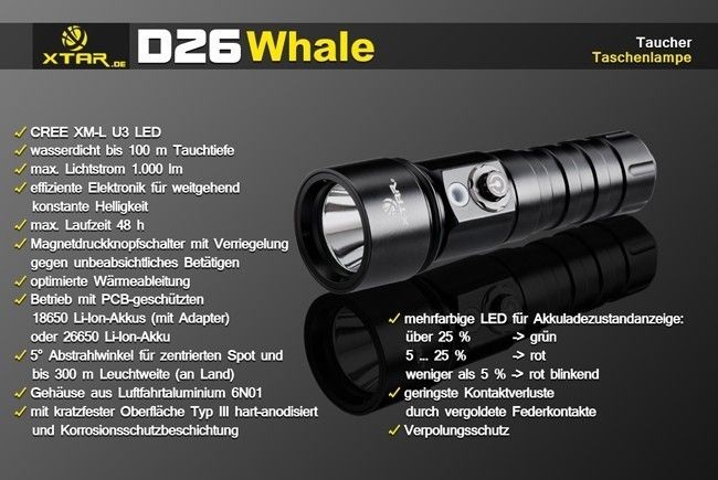 Xtar D26 XM-L Tauchlampe set