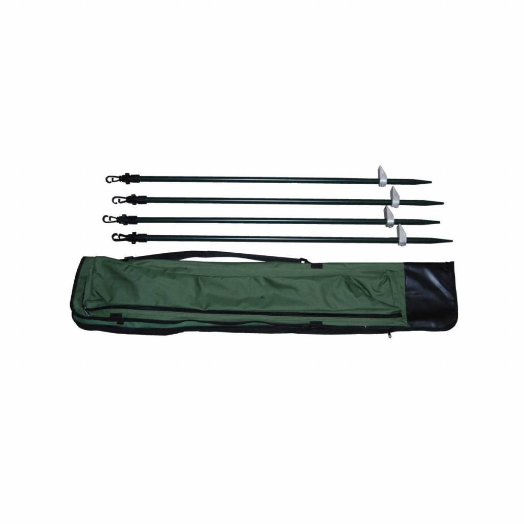 ProLoo Verstelbare poten aluminium tbv camouflage net 90-180 cm 4 stuks + foedraal