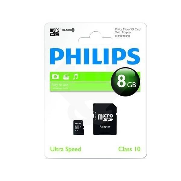 Philips Micro SDHC geheugenkaart met adapter (Cl.10-8GB)