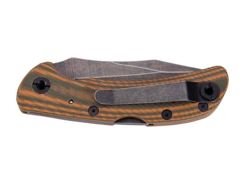 Herbertz Taschenmesser, Stahl AISI 420, stonewashed finish, Back Lock, zweifarbige G10-Griffschalen, Edelstahlclip