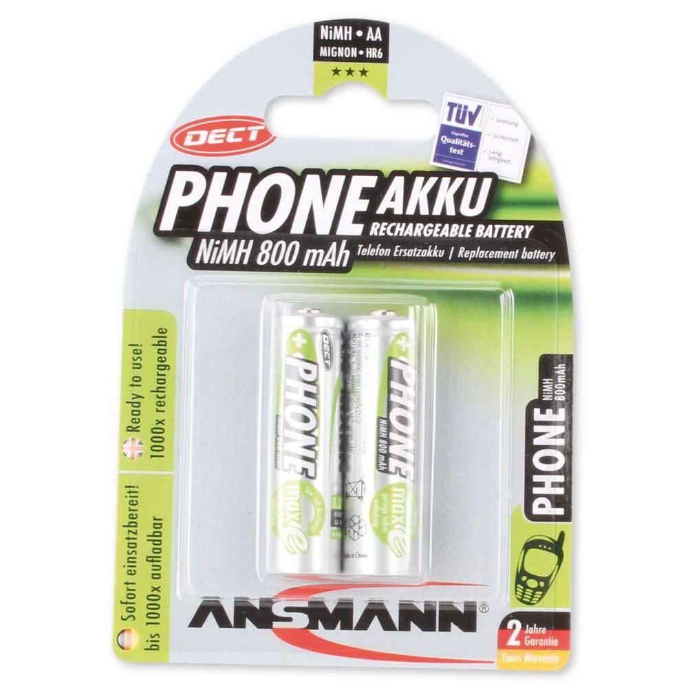 Ansmann DECT NiMH oplaadbare batterij Mignon AA 800mAh maxE 2er Blisterverpakking