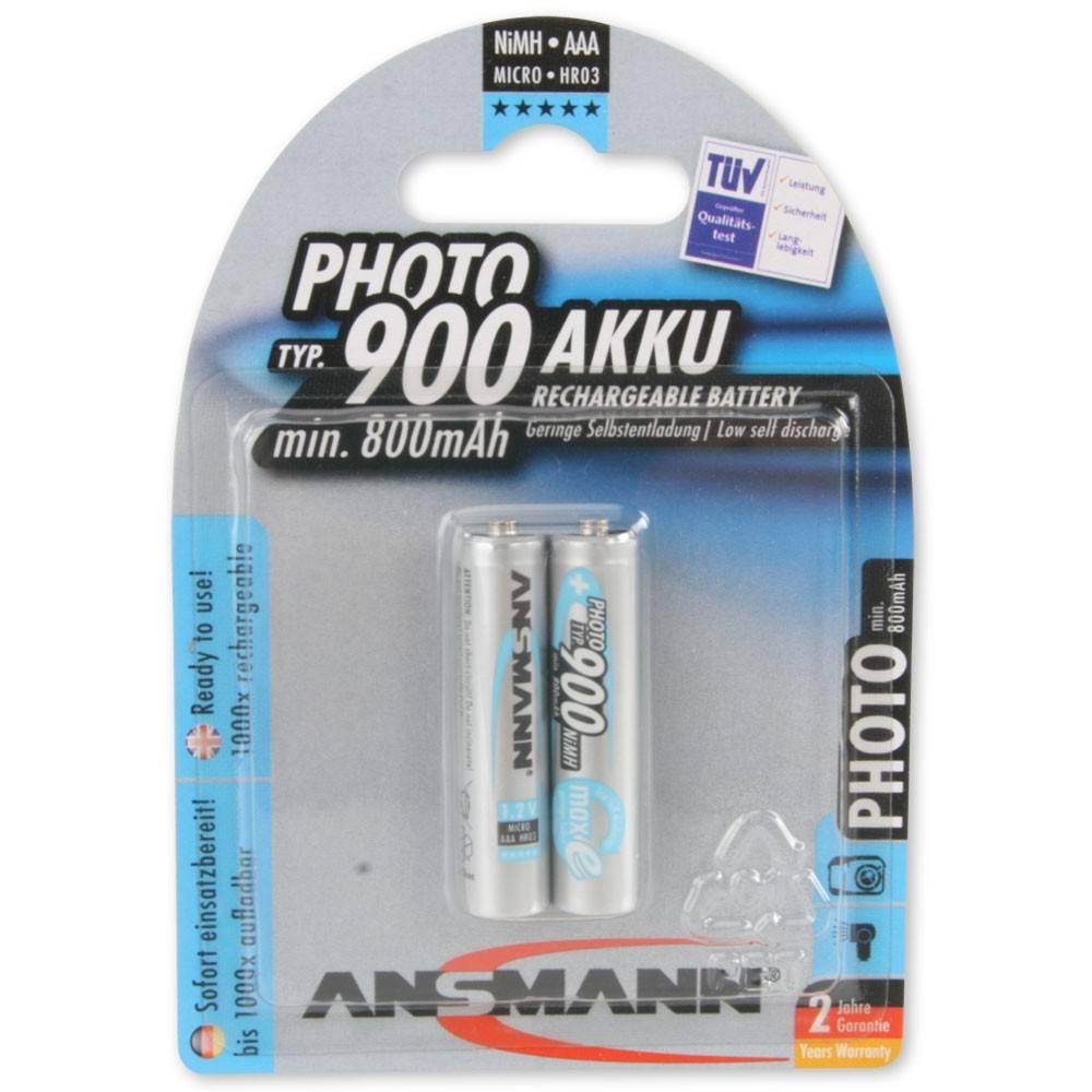 Ansmann Photo NiMH Akku Micro AAA Typ 900 min. 800mAh maxE 2er Blister