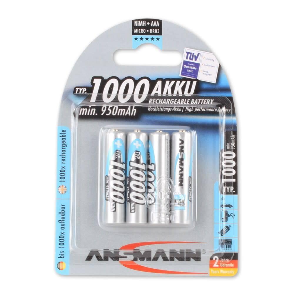 Ansmann NiMH-oplaadbare batterij Micro AAA type 1000 min. 950mAh 4 stuks Blister