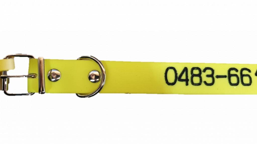 Halsbandpro BioThane Halskette mit eingraviertem Namen und Telefonnummer