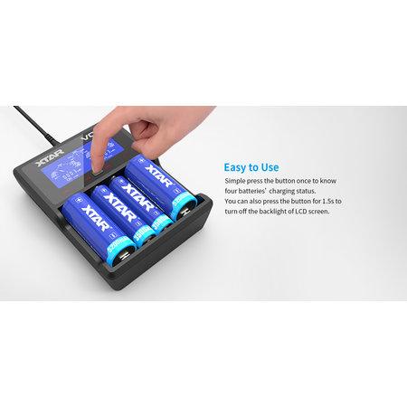 Xtar VC4 USB LCD Li-ion / Ni-MH-batterijlader
